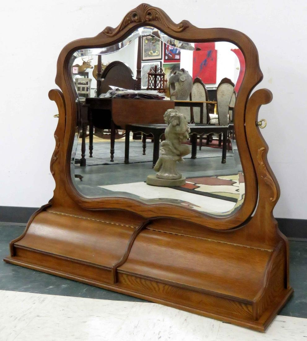 NEOCLASSIC STYLE CARVED OAK ADJUSTABLE MIRROR WITH