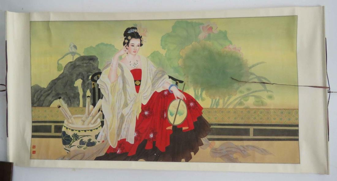 """CHINESE SCROLL PAINTING ON PAPER, COURTESAN. 36 X 68"""""""
