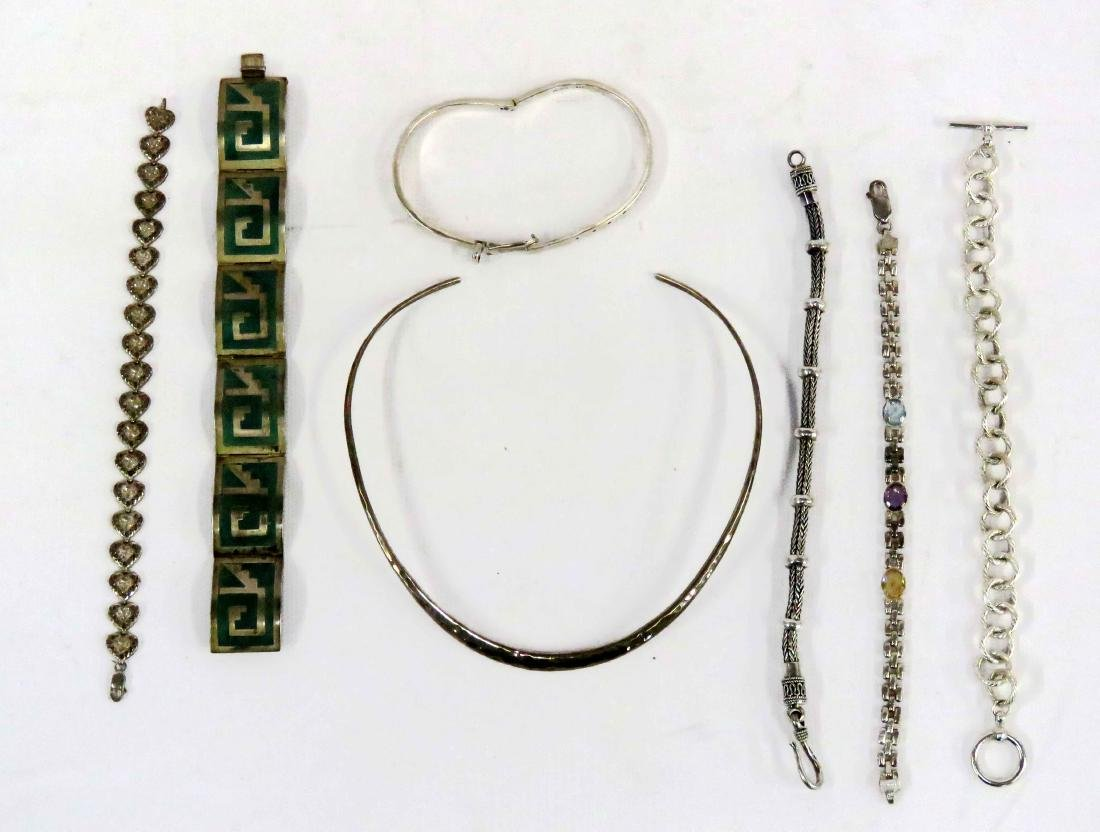 LOT MEXICAN SILVER AND STERLING INCLUDING INLAID (5)