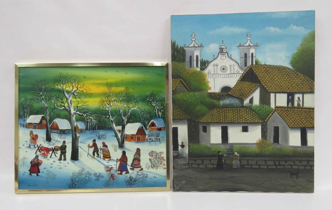 FOLK ART (20TH CENTURY), LOT (2) UKRAINE OIL ON CANVAS,