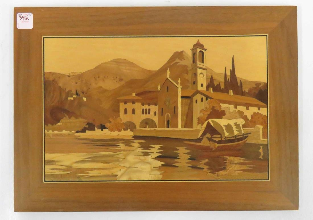 """MARQUETRY INLAID PANEL, """"LAKE COMO, ITALY"""", SIGNED AND"""