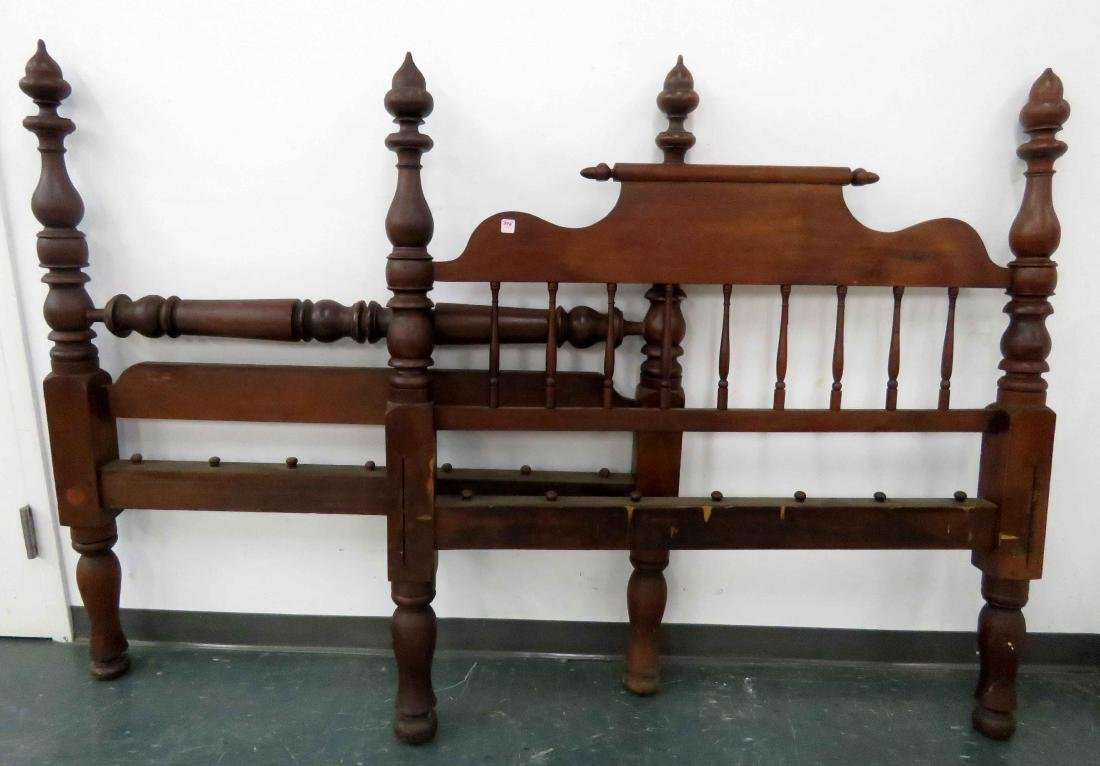 CARVED WALNUT ACORN POST ROPE BED, 19TH CENTURY. HEIGHT
