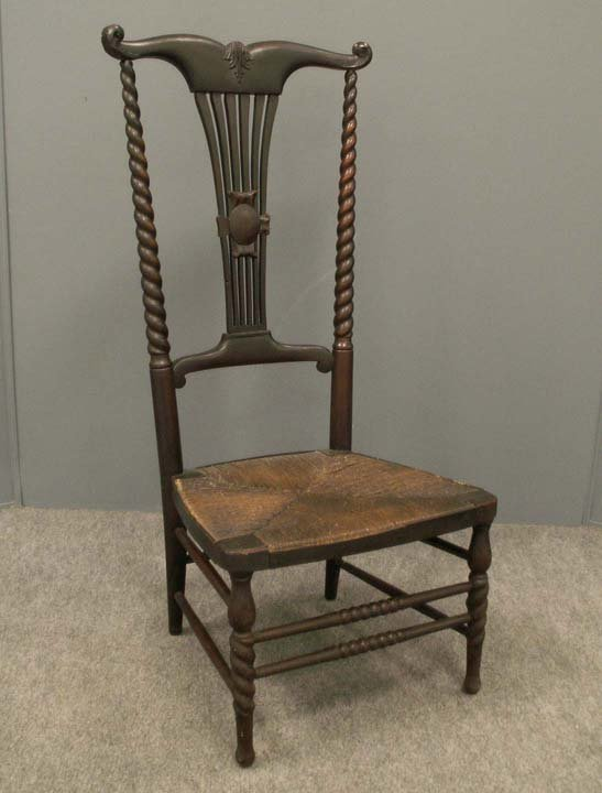 4: AESTHETIC MAHOGANY RUSH-SEAT FIRE SIDE CHAIR