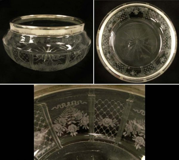 5: CONTINENTAL ETCHED & CUT GLASS CENTER BOWL