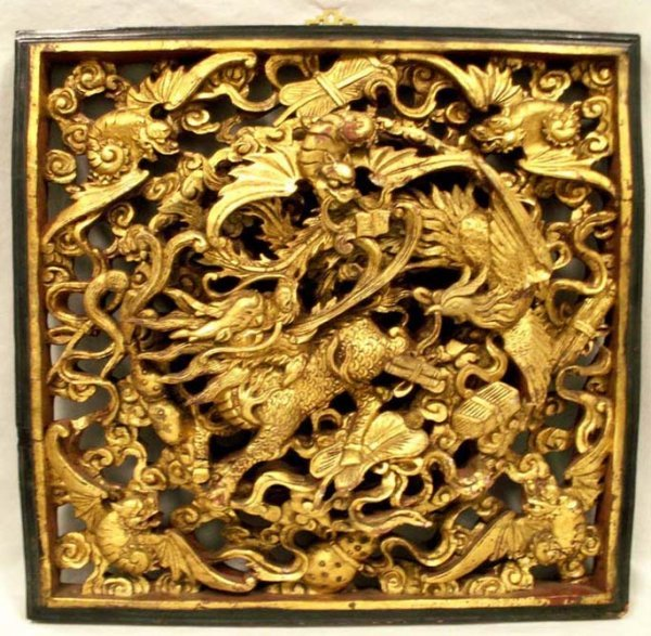 11: CHINESE CARVED & GILT PANEL, KI-LYN 20TH CENTURY