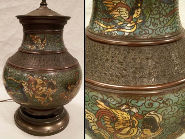 19: CHINESE ARCHAIC-FORM ENAMELED BRONZE VESSEL LAMP