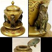 157: VICTORIAN BRASS INKWELL WITH EGYPTIAN SPHINX MOUNT