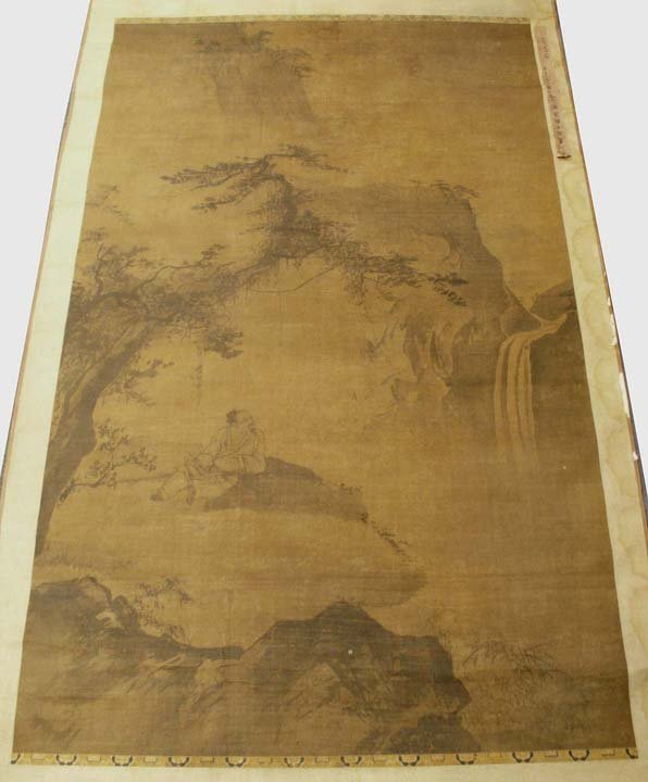 287: CHINESE SCROLL PAINTING, SCHOLAR  IN A LANDSCAPE