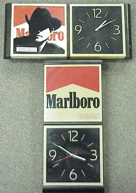 1015: LOT (2) MARLBORO ADVERTISING CLOCKS