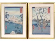 ANDO HIROSHIGE (JAPANESE 1797-1858), LOT (2) WOODBLOCK