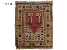 ANTIQUE CAUCASIAN PRAYER RUG. 45 X 36""