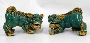 PAIR CHINESE GLAZED STONEWARE TEMPLE GUARDIANS HEIGHT