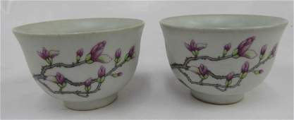 PAIR CHINESE FAMILLE ROSE DECORATED PORCELAIN CUPS,