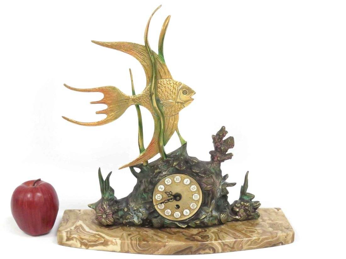 DESIGNER POLYCHROME BRONZE ANGEL FISH FIGURAL CLOCK ON