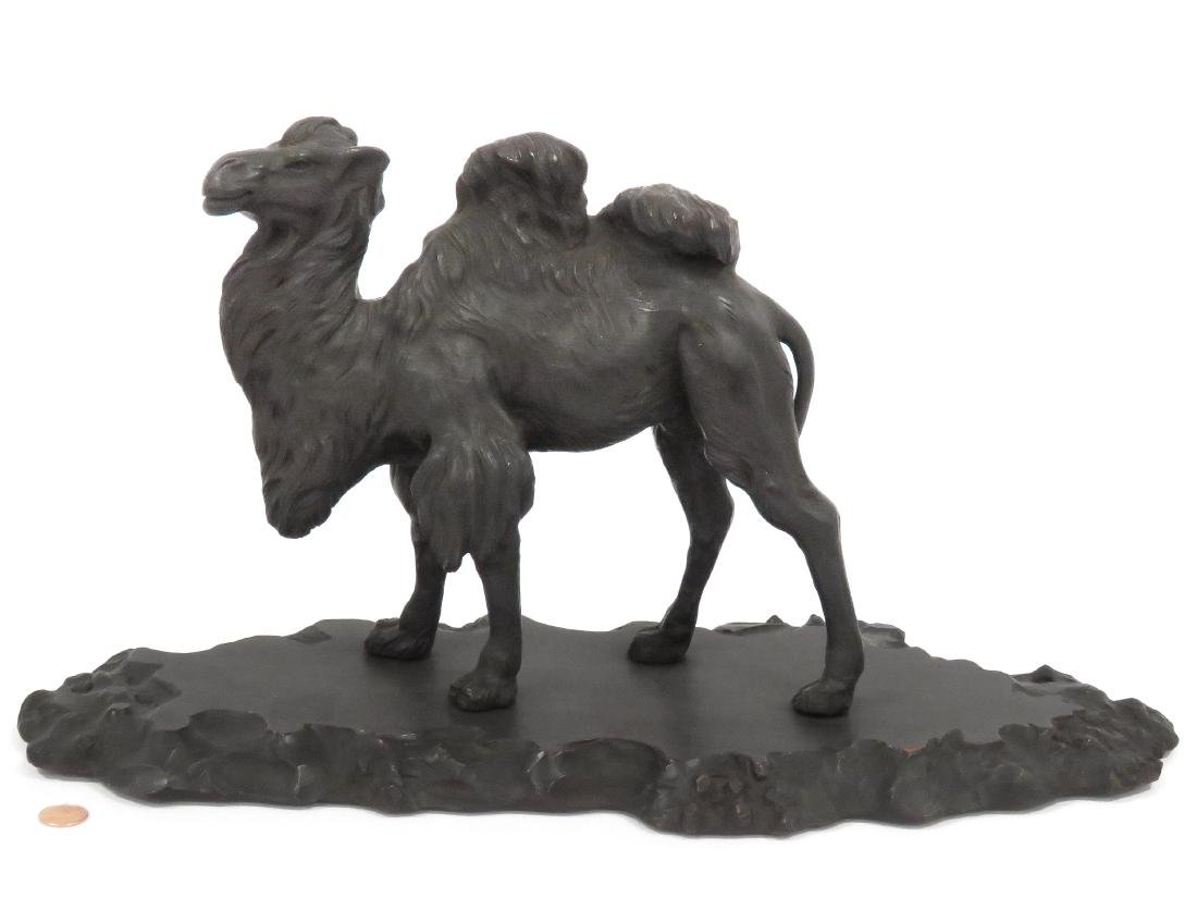 """FINE CARVED WOOD CAMEL, C.1910. HEIGHT 10 1/4""""; LENGTH"""
