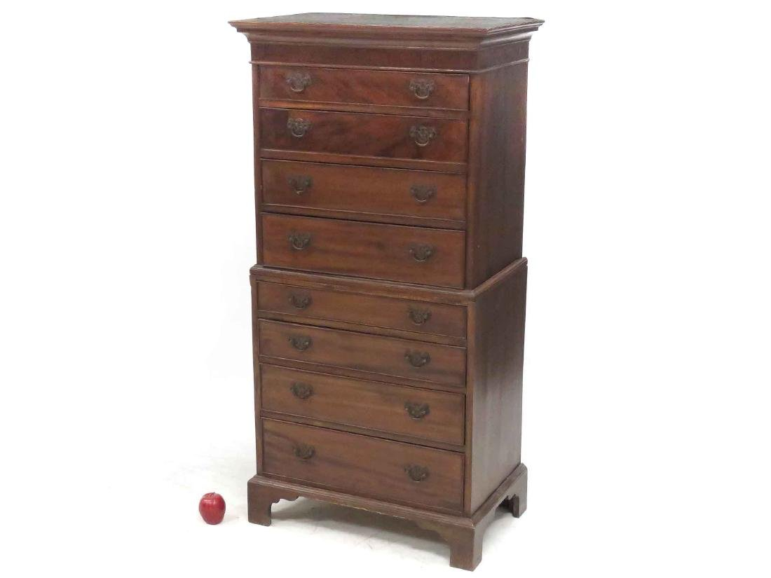 DIMINUTIVE REGENCY STYLE CARVED MAHOGANY CHEST ON