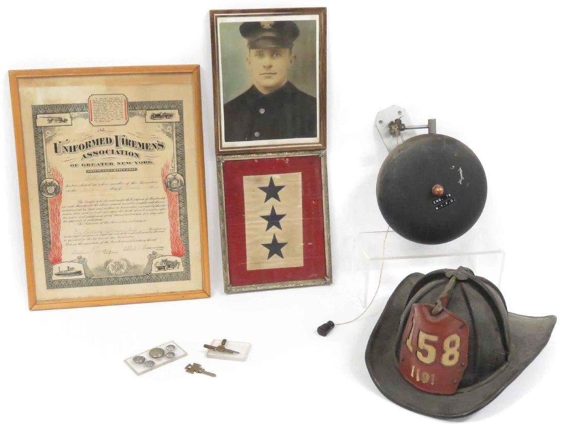 LOT ASSORTED NY FIREMAN ITEMS INCLUDING VINTAGE LEATHER