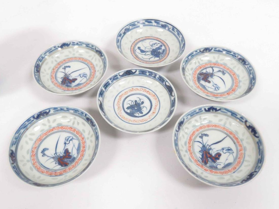 SET (6) CHINESE DECORATED PORCELAIN COVERED BOWLS IN - 5