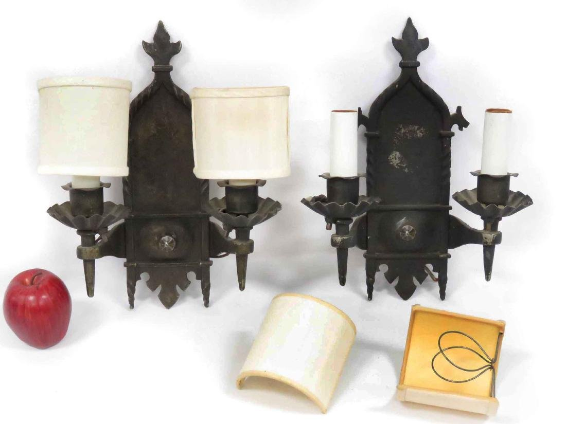 PAIR VINTAGE GOTHIC STYLE IRON SCONCES. HEIGHT 14""