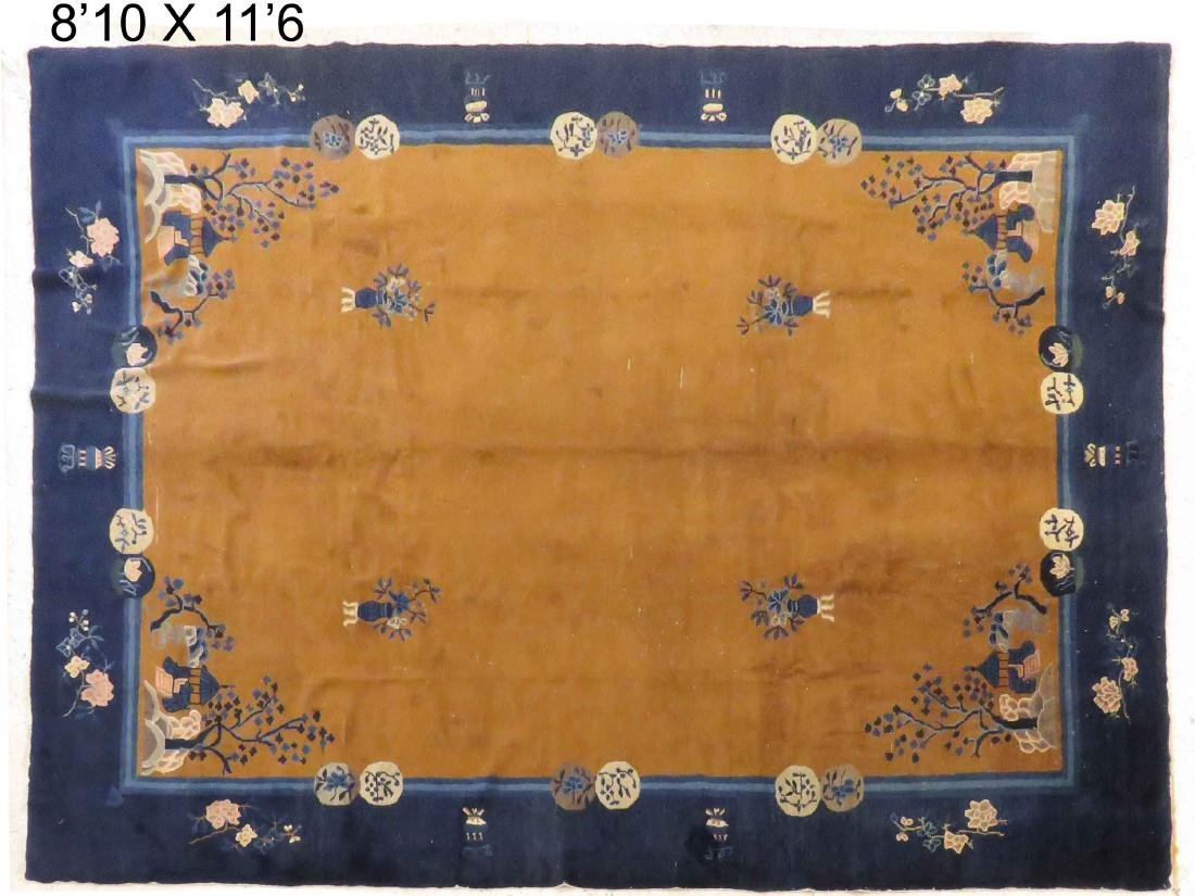 "ANTIQUE CHINESE PEKING CARPET. 8'10"" X 11'6"""