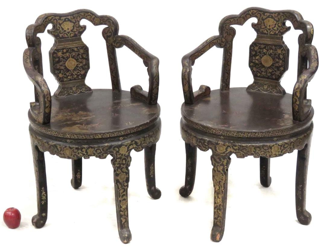 PAIR CHINESE BLACK LACQUERED ARMCHAIRS WITH GILT FLORAL