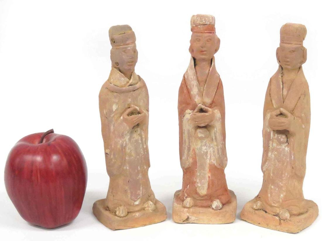 LOT (3) CHINESE TERRA COTTA FIGURES, TOMB ATTENDANTS,