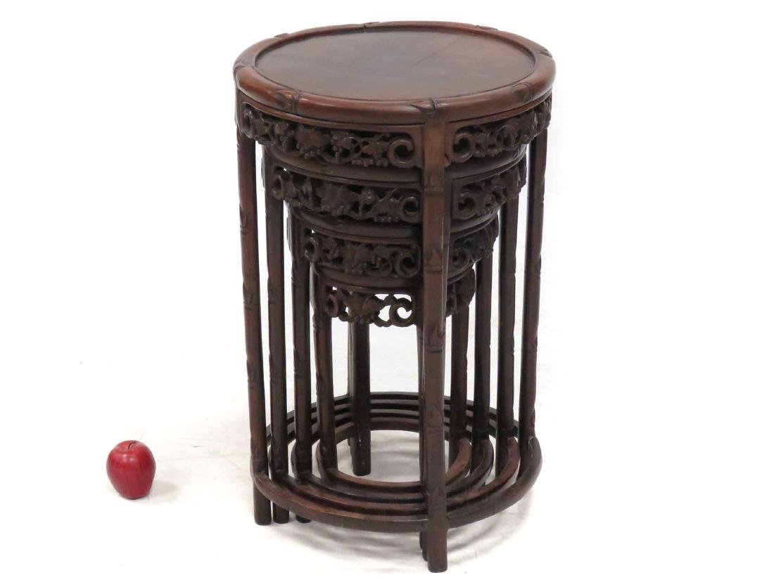 SET (4) CHINESE CARVED HARDWOOD NESTING TABLES WITH
