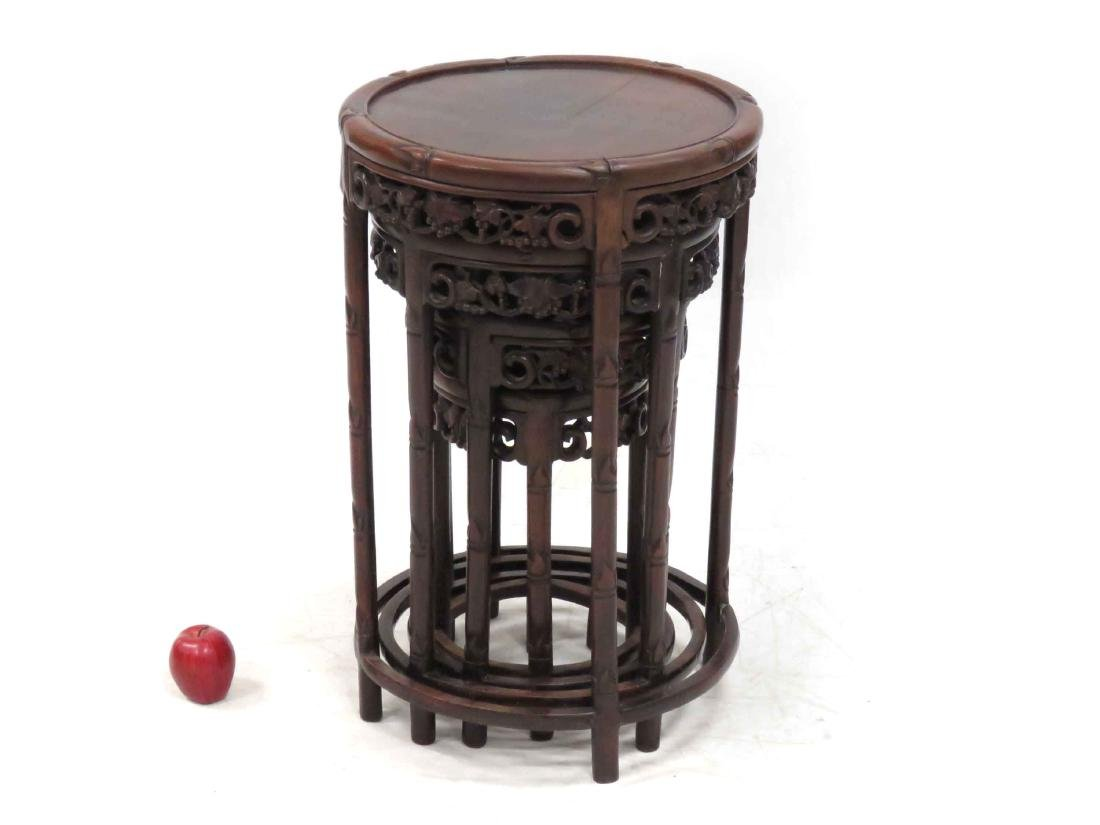 SET (4) CHINESE CARVED HARDWOOD NESTING TABLES WITH - 2