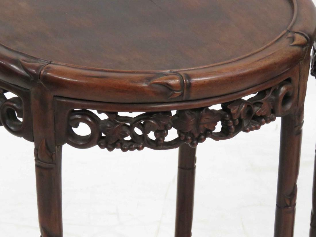 SET (4) CHINESE CARVED HARDWOOD NESTING TABLES WITH - 4