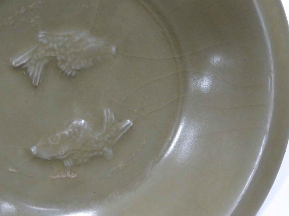 CHINESE LONG QUAN CELADON SHALLOW BOWLS WITH (2) FISH, - 3