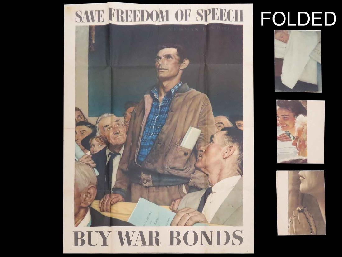 SET (4) NORMAN ROCKWELL WWII POSTERS, THE FOUR