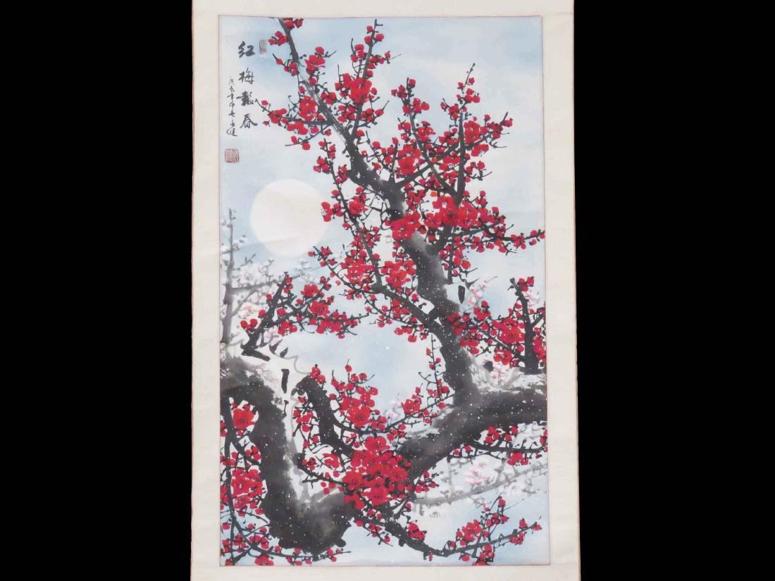 CHINESE WATERCOLOR SCROLL, CHERRY BLOSSOMS IN SNOWFALL,