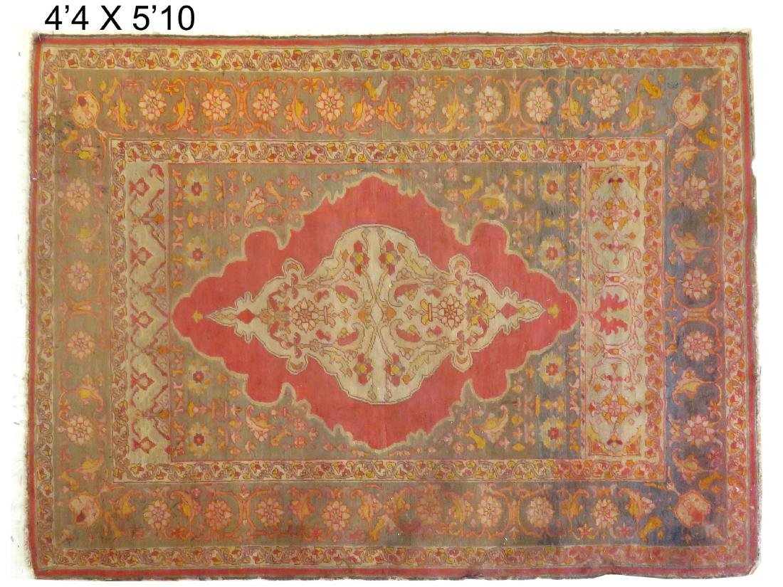 "ANTIQUE TURKISH RUG. 4'4"" X 5'10"""