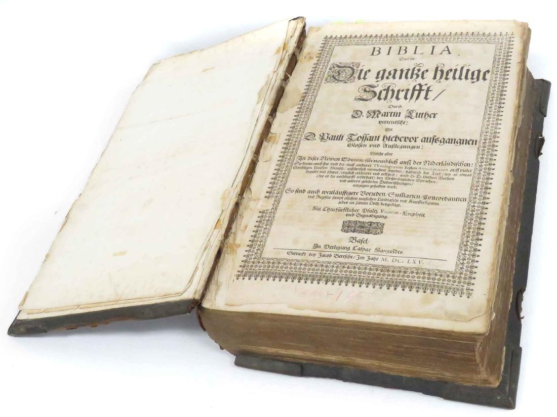 MARTIN LUTHER BIBLE, BASEL, 1665 (BIBLE IN GERMAN)