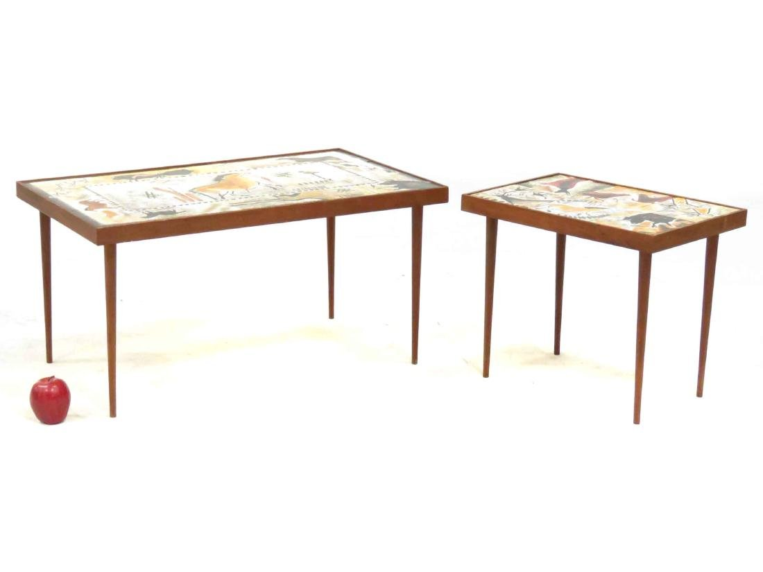 LOT (2) MID-CENTURY DECORATED TILE-TOP TABLES. HEIGHT - 4