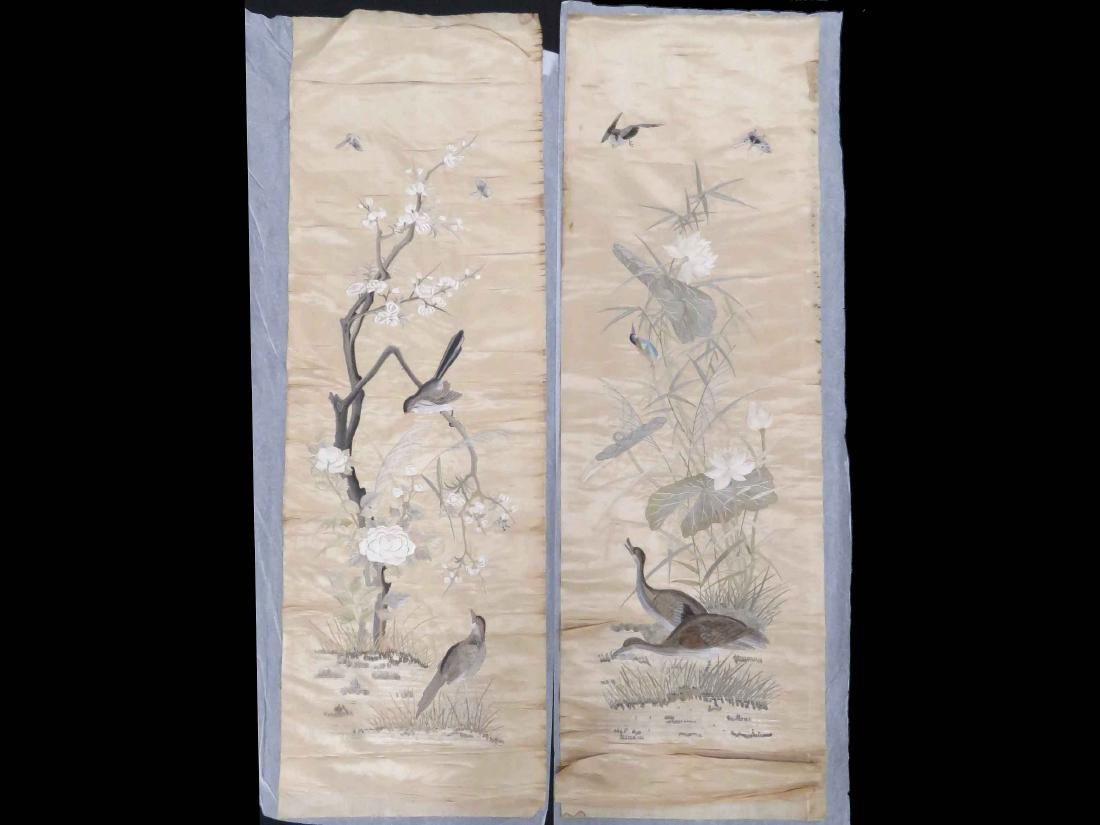 LOT (2) ANTIQUE CHINESE SILK EMBROIDERED PANELS OF