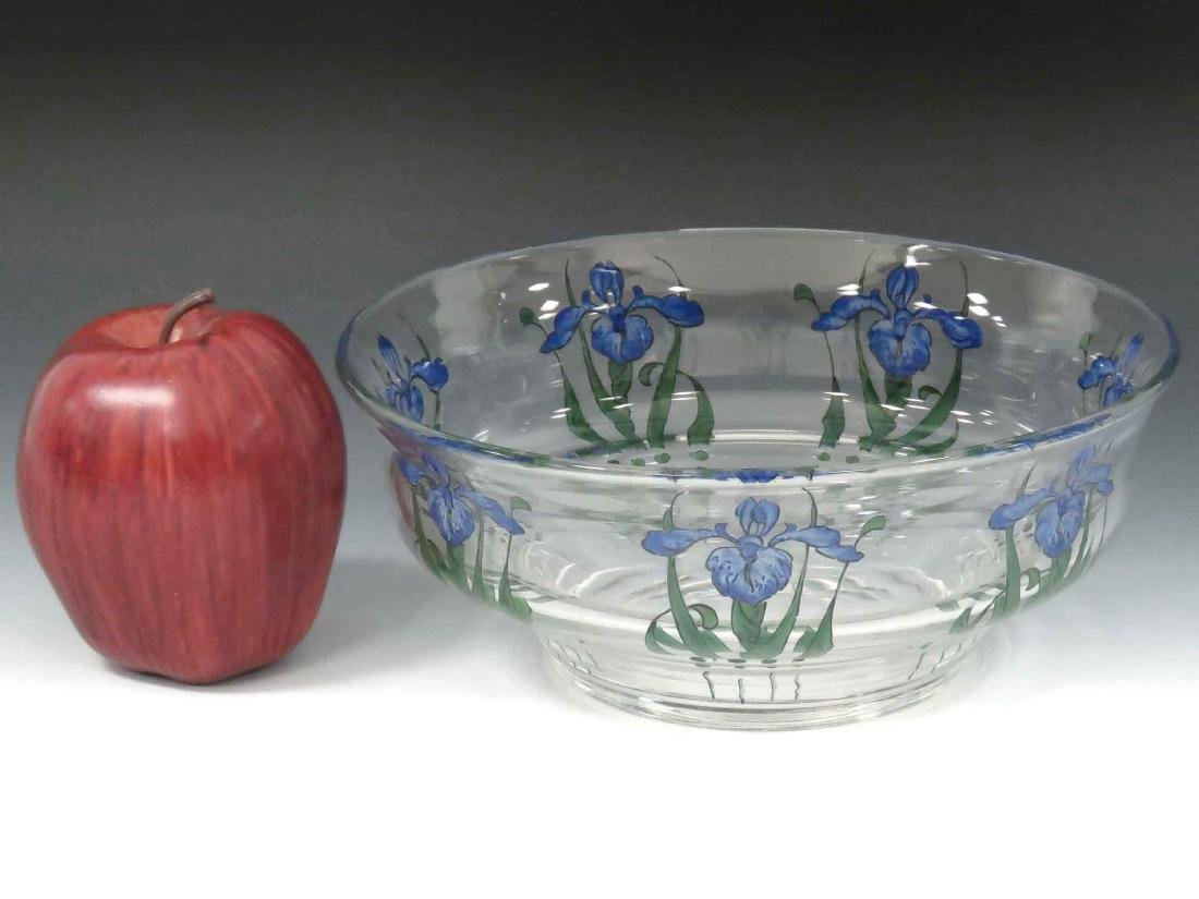STUART ART GLASS CENTER BOWL WITH IRIS DECORATION,