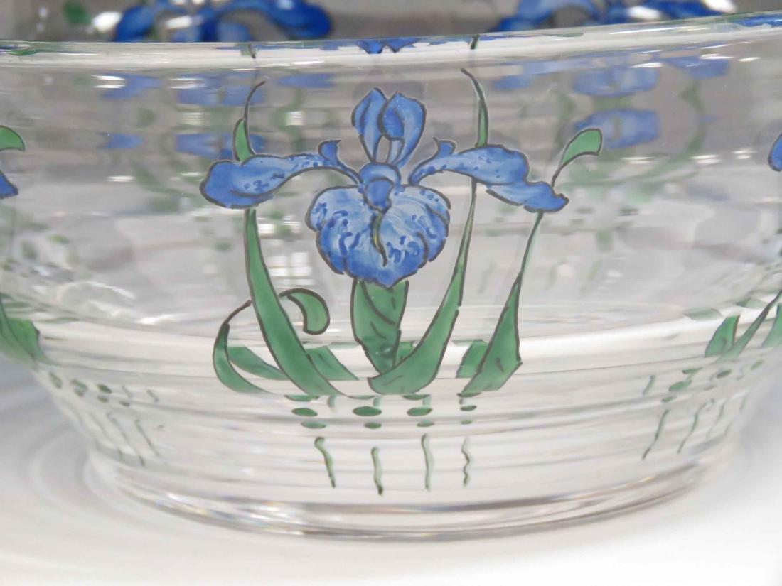 STUART ART GLASS CENTER BOWL WITH IRIS DECORATION, - 3