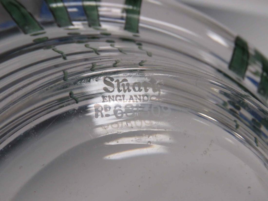 STUART ART GLASS CENTER BOWL WITH IRIS DECORATION, - 5