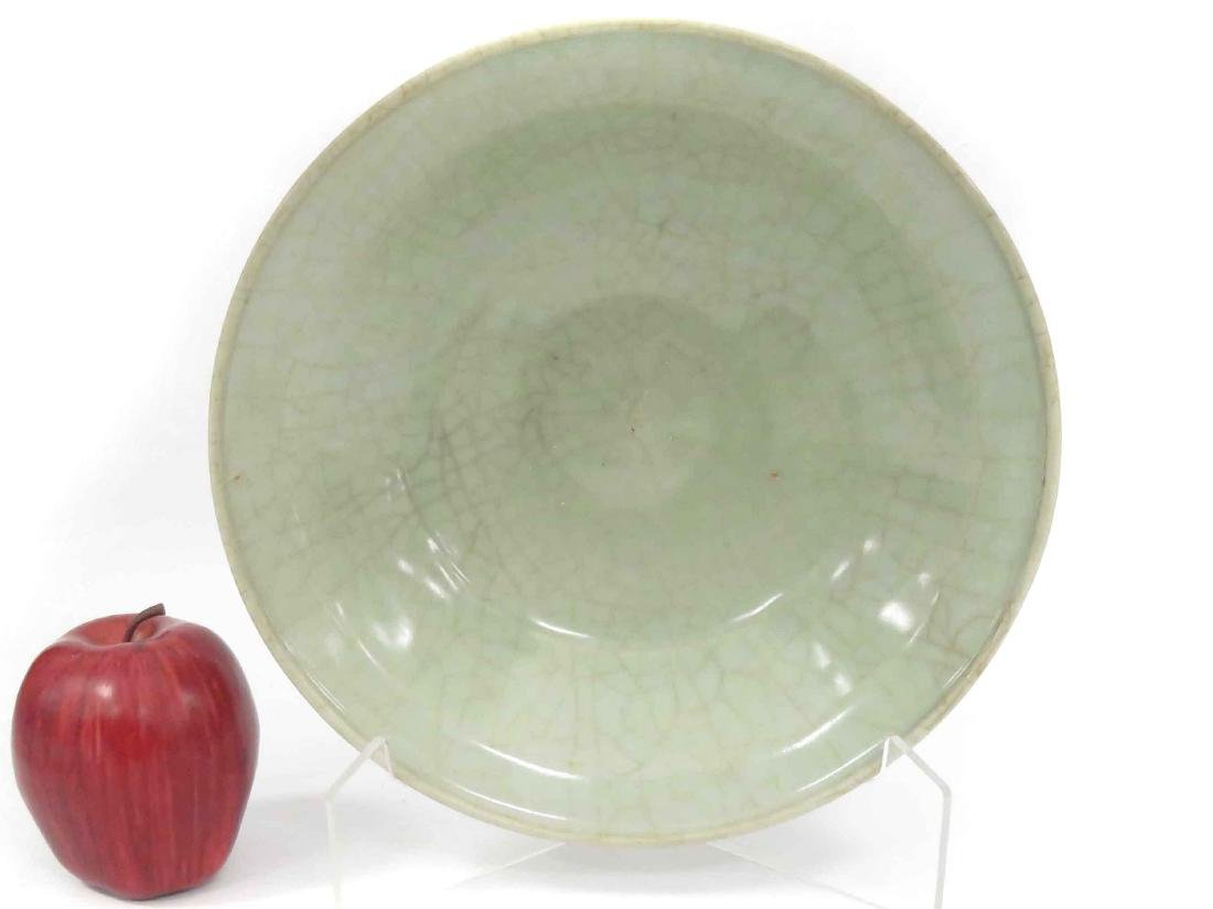 CHINESE CELADON SHALLOW BOWL WITH CRACKLED GLAZE, MING.