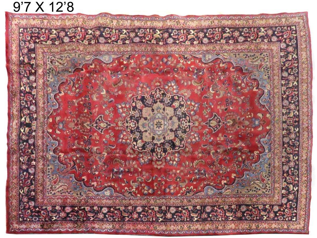 "OLD MASHAD IRAN CARPET. 9'7 X 12'8"""