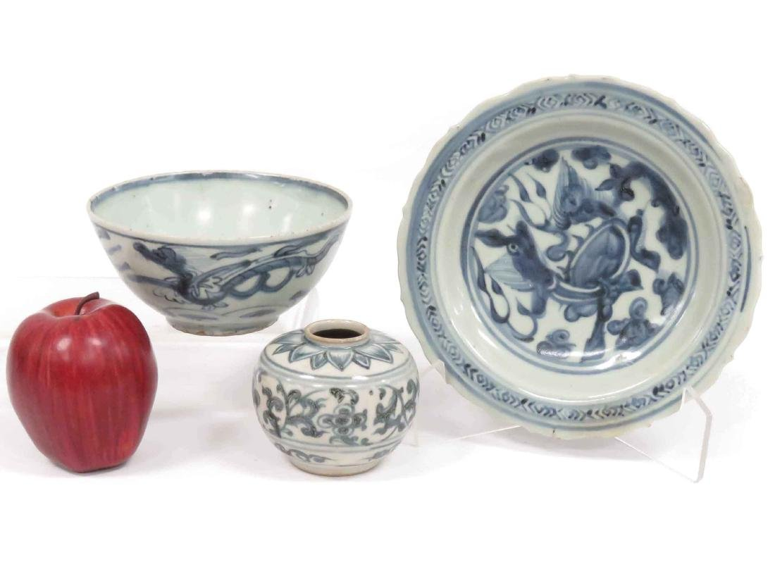LOT (3) CHINESE DECORATED PORCELAIN INCLUDING BOWL, 5