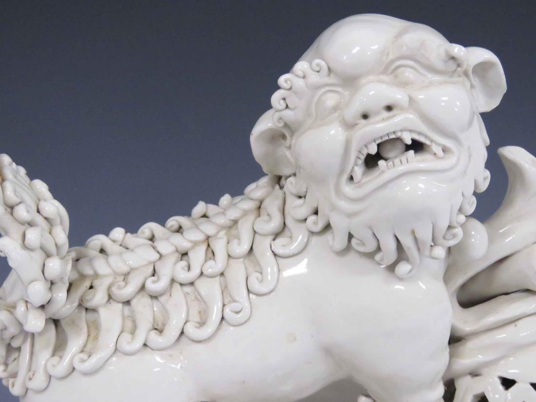 CHINESE BLANC DE CHINE PORCELAIN FOO DOG WITH STAND. - 2