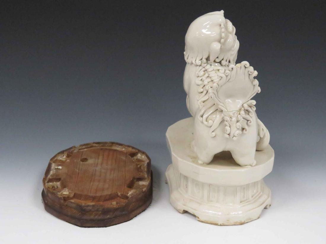 CHINESE BLANC DE CHINE PORCELAIN FOO DOG WITH STAND. - 4