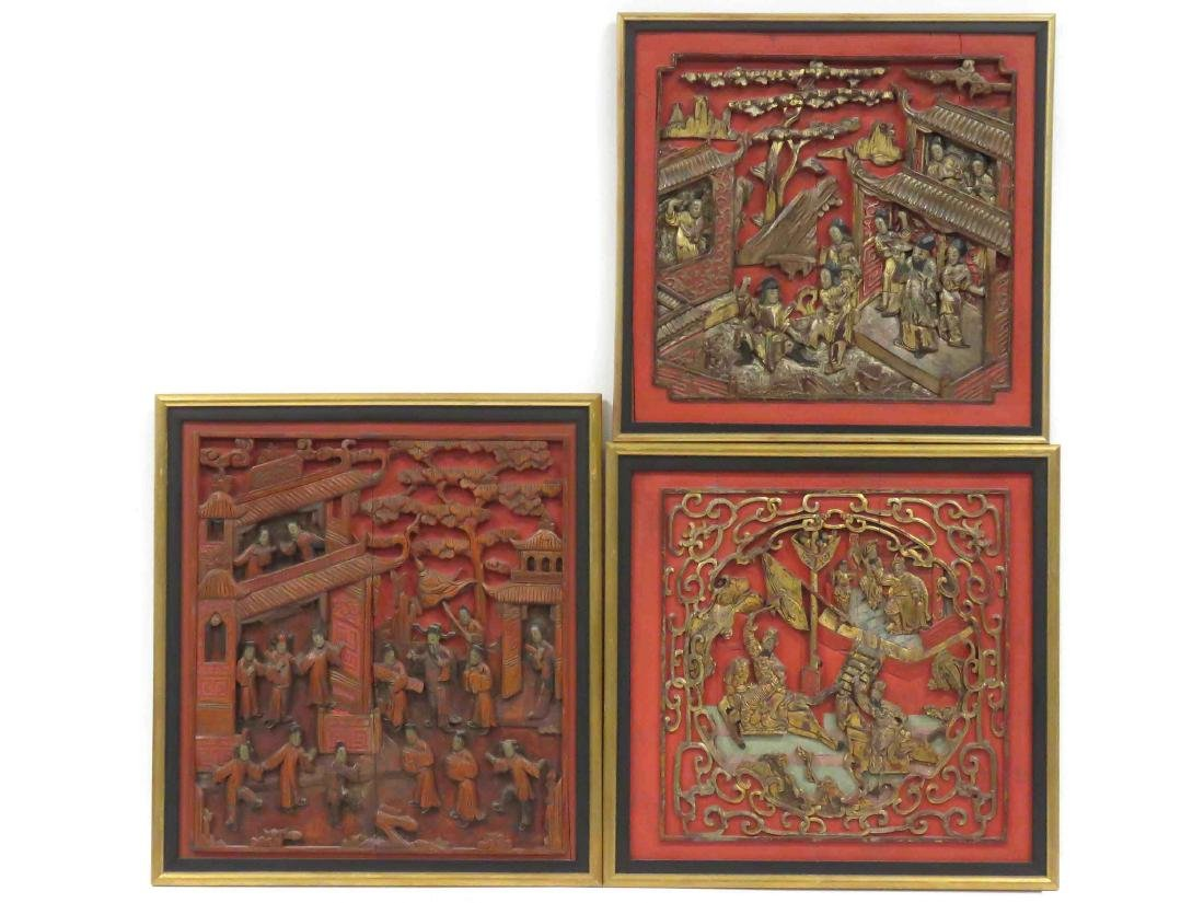 LOT (3) CHINESE CARVED, LACQUERED AND GILT PANELS, 19TH