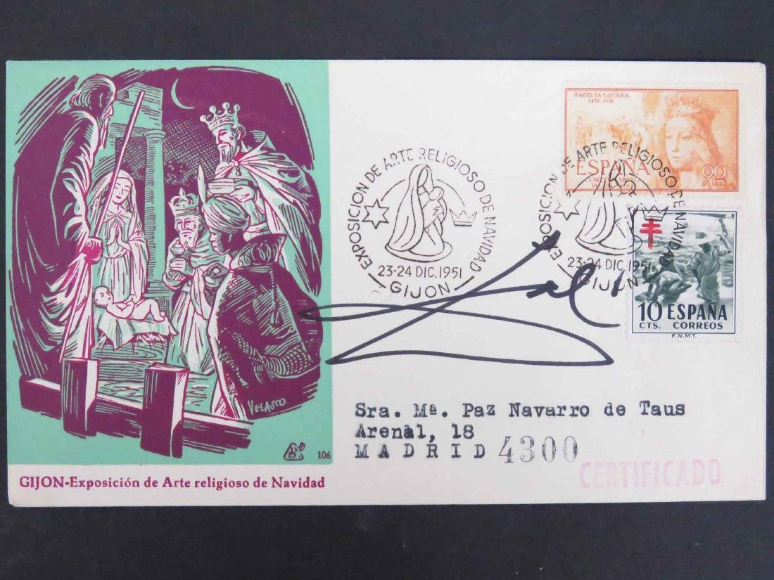 SPANISH FIRST DAY COVER, 1951, SIGNED SALVADOR DALI