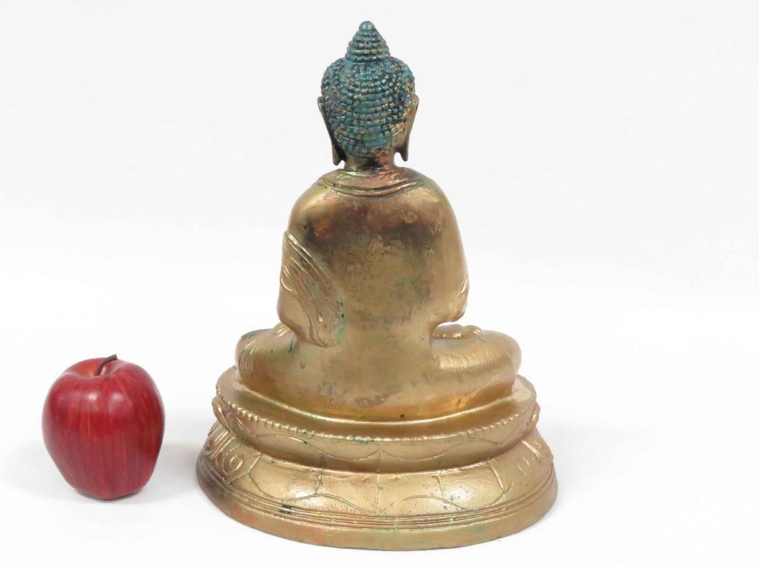"""SINO-TIBETAN PAINTED BRASS SEATED BUDDHA. HEIGHT 12"""" - 2"""