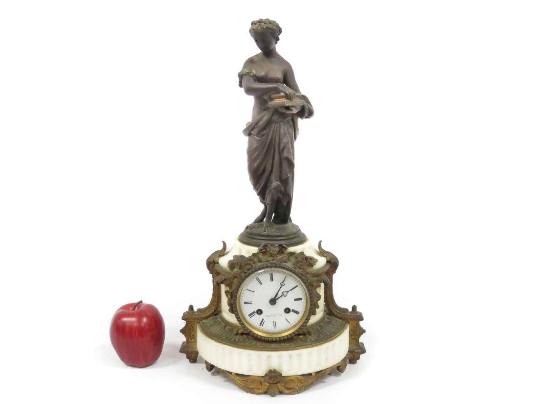FRENCH GILT BRONZE AND MARBLE FIGURE MANTLE CLOCK,