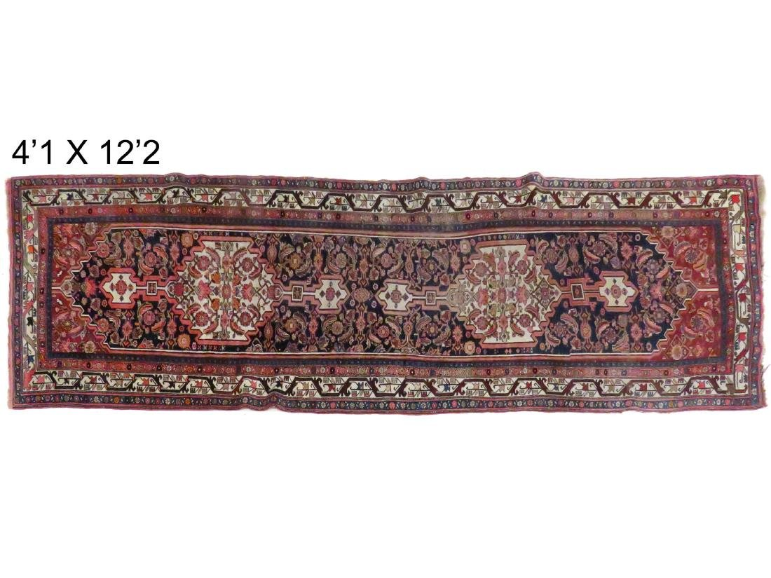 "ANTIQUE BIJAR CORRIDOR RUG. 4'1"" X 14'"