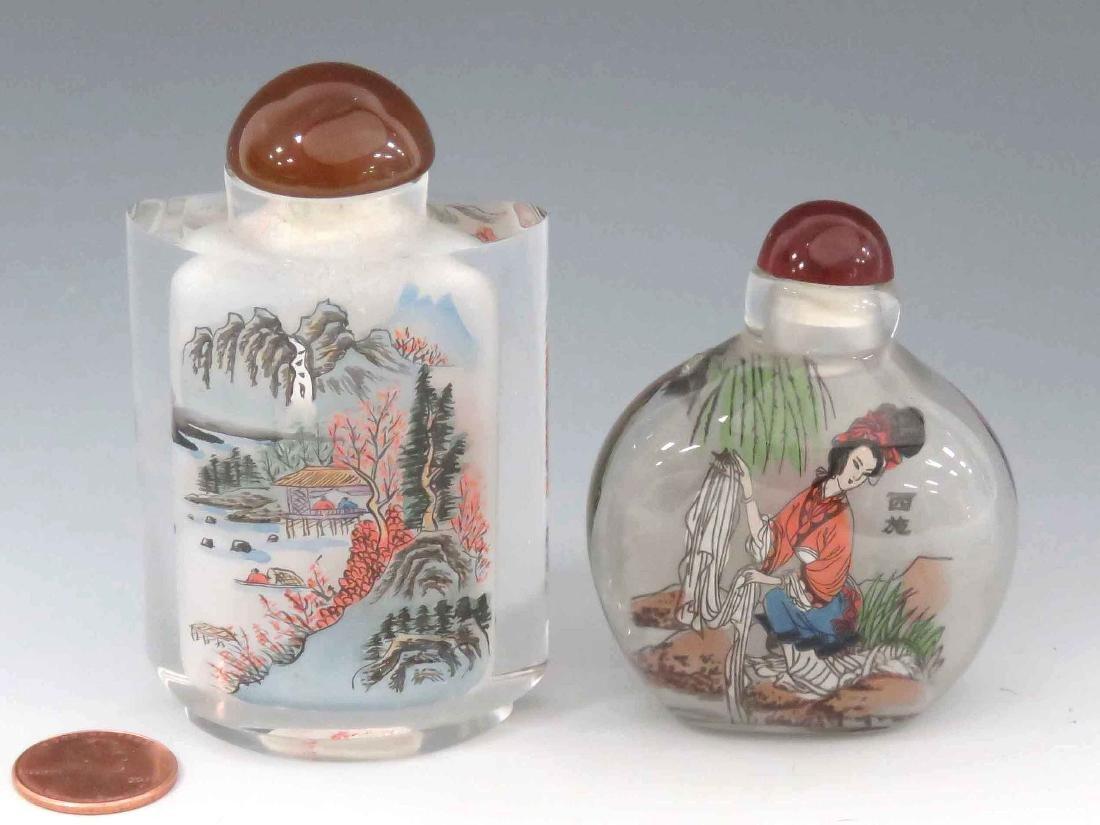 LOT (2) CHINESE PEKING GLASS INTERNALLY DECORATED SNUFF